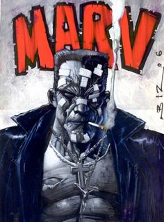Marv from Sin City by Simon Bisley. You definitely don't see much non-Miller Sin City art and that's just a shame. Comic Book Artists, Comic Book Characters, Comic Artist, Comic Character, Comic Books Art, Simon Bisley, Arte Dc Comics, Marvel Comics, Fantasy Kunst