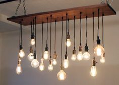 "Urban Chandy Reclaimed Barn Wood Chandelier with Vintage Edison Bulbs 12""x48"" 28"" hanging down at lowest point. 18x pendants"