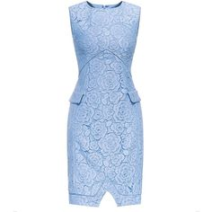 LA JINIRR Womens Elegant Rose Lace Sleeveless Faux Pocket Midi... ❤ liked on Polyvore featuring dresses, mid calf dresses, lace dress, blue dress, calf length dresses and rose dress