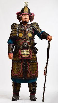 Tang officers from the 700s, wearing the distinctive Mingguang armor, distinguished by the twin breastplates that protected the torso, relatively lighter than the heavy lamellar armor- it was often preferred by the officer corp, these armor often marked the high status of its wearer- one of the reasons that many of the Tang dynasty tomb guardian figurines wears such armor. Early Heian era samurai helmets were influenced by these cavalry helmets- especially the cheek pieces.