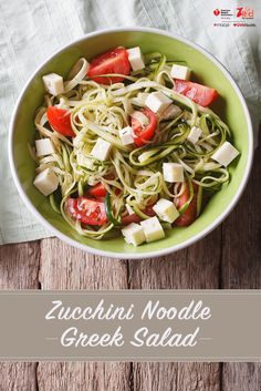 Looking for low carb meals?Light and refreshing, this easy Zucchini Noodle Greek Salad is the perfect recipe for summer.