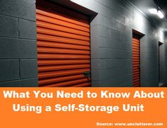 What You Need to Know About Using a Self-Storage Unit...For more creative tips and ideas FOLLOW https://www.facebook.com/homeandlifetips