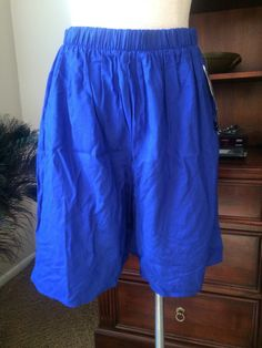 Vintage Wide Leg Blue Shorts/ Culottes With High Waist Styling