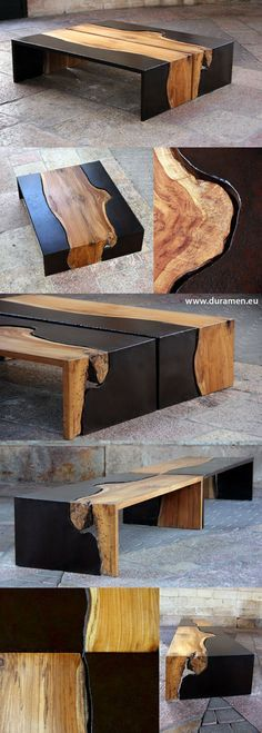 Cool way to incorporate live edge wood but maintain straight edges around  the perimeter of the piece.