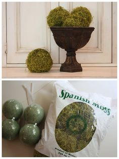 CRAFTS :: DIY Moss Balls Tutorial :: Made w/ styrofoam balls & Spanish moss from the craft store | #mossballs #theyellowcapecod