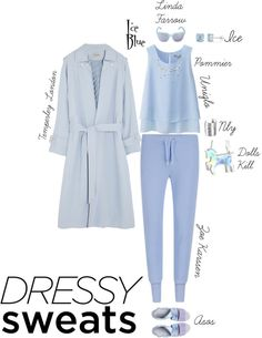 Dressy Sweats: Ice Blue by sophie-poualion on Polyvore featuring Uniqlo, Temperley London, Zoe Karssen, Miista, Ice, NLY Accessories and Linda Farrow