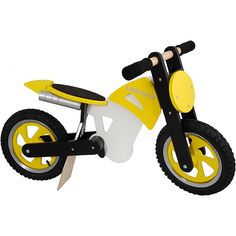 #Kiddimoto #Yellow Scrambler Wooden Balance Bikes are a fantastic way to get your child out and about learning about balance and coordination. $179.