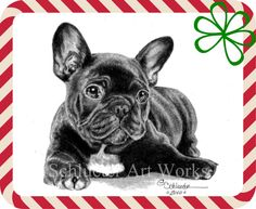 """The #French #Buldog print, available in 8x10"""" for $19 or 5x7"""" for only $8 at http://www.etsy.com/shop/gensart. Come visit to see all the breeds available ( Candy cane frame, bow & watermark will not be on your print )"""