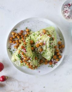 crispy chickpea wedge salads with avocado ranch I howsweeteats.com #wedge #salad #chickpeas #avocado #ranch #vegetarian