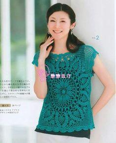 #449 Blusa Turquesa a Crochet o Ganchillo