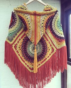 Crochet hooded poncho in lovely autumn colours, seventies style