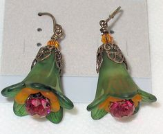 lucite flower earrings   Earrings Lucite Flowers Painted