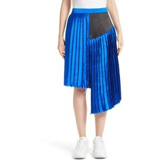 Women's Public School Asymmetrical Pleated Silk Skirt ($595) ❤ liked on Polyvore featuring skirts, yves blue, silk pleated skirt, knee length pleated skirt, blue silk skirt, preppy skirts and asymmetrical skirt