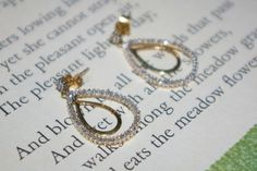 1.0 TCW Tear drop Diamond Studded 10k HN Yellow Gold Stud Dangle Earrings 3.4 Grams by StateofVintage on Etsy
