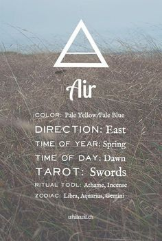The air element correspondences in magic, spells and witchcraft.