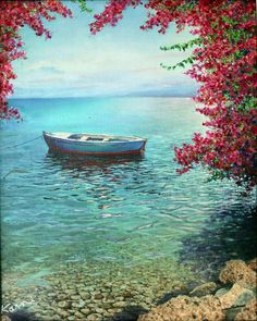 This Handmade Oil painting gives an Atmosphere of serenity, peace and joy around. Shades of turquoise, Colorful, sea and freedom In this painting I tried to describe what my heart Feel And it was at sunrise during spring at the Sea of Galilee coast. High quality canvas stretched on board, signed by the artist. ABOUT THIS PAINTING A boat and the Bougainvillea bushes at the Sea of Galilee. The painting before you combine the warm colors that make up the body of the boat with touches of cool…
