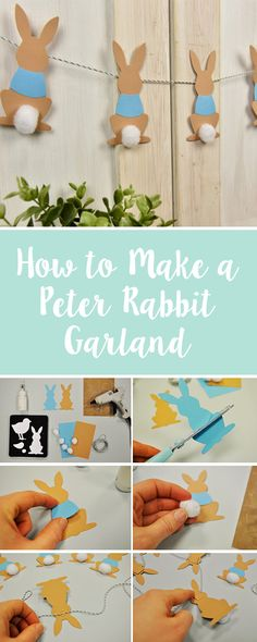 Create your own DIY Peter Rabbit garland craft for your home. This is a great & & & DIY Craft Peter Rabbit Party, Peter Rabbit Cake, Peter Rabbit Nursery, Peter Rabbit Birthday, Baby Crafts To Make, Crafts For Kids To Make, Kids Diy, Diy Niños Manualidades, Diy Girlande