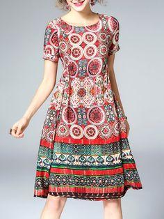 Shop Midi Dresses - Short Sleeve Printed Vintage A-line Midi Dress online. Discover unique designers fashion at StyleWe.com.