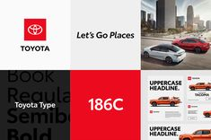 The layouts are what got my attention the most. There is a strong confidence and directness to these that works very well for Toyota: rugged, direct, and unfussy. The logo in the red square works great as an anchor to all the variations. Car Brands, Tagline Examples, Toyota Emblem, Fortune Favors The Bold, Bank Of America, Marketing Communications, New Uses, Brand Guidelines