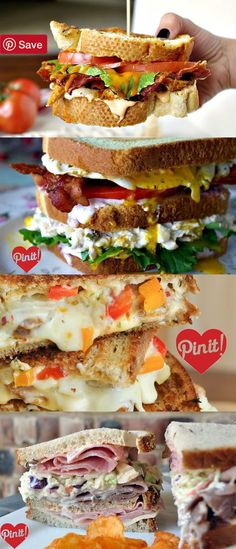 23 Must-Make Sandwiches :: pinning a bunch of these to try later! #delicious #diy #Easy #food #love #recipe #recipes #tutorial #yummy @mabarto - Make sure to follow cause we post alot of food recipes and DIY we post Food and drinks gifts animals and pets and sometimes art and of course Diy and crafts films music garden hair and beauty and make up health and fitness and yes we do post women's fashion sometimes and even wedding ideas travel and sport science and nature products and…
