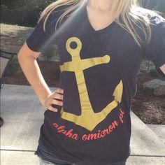 AOII V Neck Navy blue Alpha Omicron Pi sorority v neck. Anchor themed. Brand new condition AOII Tops Tees - Short Sleeve