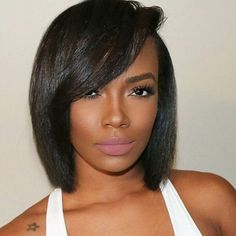 93.00$  Watch now - http://ali3ap.worldwells.pw/go.php?t=32402241098 - 100% Unprocessed Top Grade Peruvian Hair Lace Front Wig Short Bob Full Lace Wigs Human Hair Wig For Black Woman With Side Bangs