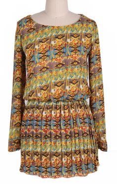 Green Long Sleeve Floral Pleated Chiffon Dress
