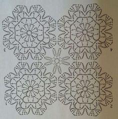 Crochet Bedspread Pattern, Crochet Motif Patterns, Crochet Curtains, Crochet Tablecloth, Crochet Doilies, Stitch Patterns, Crochet Stitches Chart, Crochet Diagram, Crochet Basics