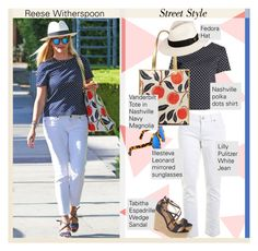 Reese Witherspoon/ Street Style... by unamiradaatuarmario on Polyvore featuring moda, Lilly Pulitzer, Tabitha Simmons, Goorin, Illesteva, StreetStyle and reesewitherspoon