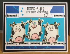"""Handmade Birthday Card with Silly Cows-""""Herd It's Your Birthday"""" Handmade Card-Red, White and Black , A2 Birthday Card by TreasureIslandCards on Etsy"""
