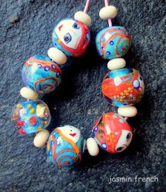 jasmin french ' mermaids ' lampwork beads set by jasminfrench