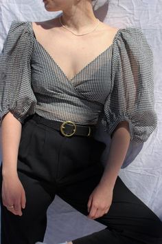 Western Outfits, Cute Casual Outfits, Vintage Tops, Vintage Blouse, Aesthetic Clothes, Blouse Designs, Gingham, Fashion Outfits, Geometric Tattoos