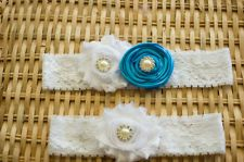 Teal and White Wedding Garter, Ivory Wedding Garter, Shabby Chic Garter