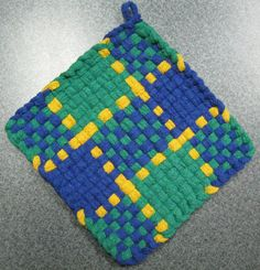 Items similar to Plaid Woven Potholder on Etsy Potholder Loom, Potholder Patterns, Crochet Dishcloths, Homemade Potholders, Loom Craft, Weaving Projects, Tear, Crewel Embroidery, Weaving Patterns