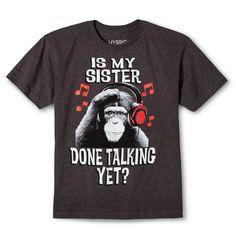 Hybrid Tees Boys' Sister Talking Graphic T-Shirt Gray - Xxl