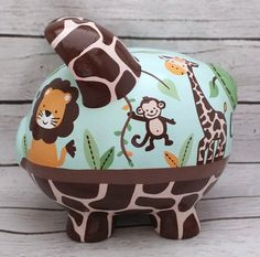 Jungle Friends Personalized Piggy Bank with Lion, Monkey, Elephant and Zebra in Aqua and Brown Personalized Piggy Bank, Personalized Gifts, Paint Monkey, The Little Couple, Piggy Banks, Baby Coming, Porcelain Ceramics, Custom Items, Baby Shower Gifts