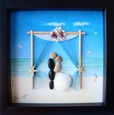 Wedding Gift Pebble Art- Couple's Pebble Art- Custom Wedding Gift- Unique Wedding Gift- Bride and Groom Gift- Couple's Gift- Pebble Art