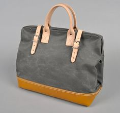 Hickoree's Special Edition Bag #312-001, Charcoal Grey canvas and leather mason bag
