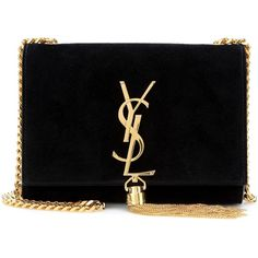 Saint Laurent Classic Small Monogramme Suede Shoulder Bag ($1,545) ❤ liked on Polyvore featuring bags, handbags, shoulder bags, clutches, bolsas, purses, bolsos, black, yves saint laurent handbags and suede leather handbags