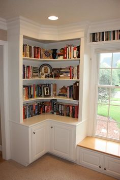 Wrap Around Shelves with Cabinet Doors and that window seat (needs a cushion!) -… Wrap Around Shelves with Cabinet Doors and that window seat (needs a cushion!) – Related posts: DIY L Shaped desk Corner Wall Shelves, Corner Storage, Book Shelves, Window Shelves, Kitchen Shelves, Corner Bench, Corner Seating, Book Storage, Kitchen Cabinets