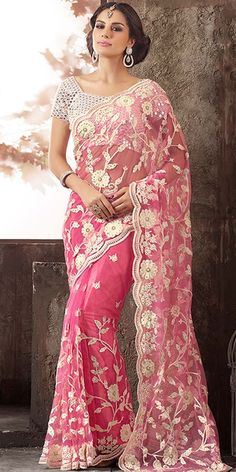 Smashing Pink Net Saree With Blouse.