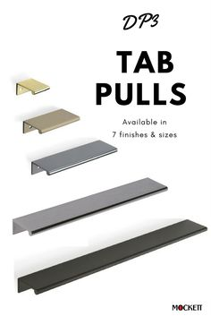 Tab Pulls are classic. These drawer pulls fit any cabinet and gives it a modern look, keeping cabinetry style. Kitchen Drawer Handles, Cabinet And Drawer Pulls, Drawer Hardware, Knobs And Handles, Beautiful Kitchen Designs, Contemporary Kitchen Design, Wardrobe Interior Design, Joinery Details, Kitchen Pantry Design