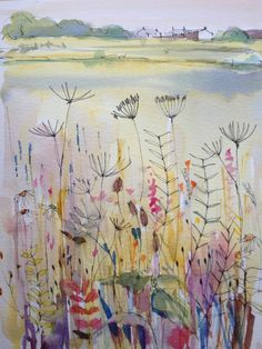 Original Water Colour Painting - On the Verge - Signed Annabel Burton . Watercolor Landscape, Watercolor And Ink, Watercolour Painting, Watercolor Flowers, Painting & Drawing, Watercolors, Watercolor Canvas, Plant Illustration, Watercolor Illustration