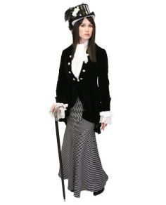 Black and White Striped Steampunk Clothing for Women