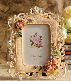 Tr0094-Pastoral-Estilo-4x6-Retrato-Photo-Frame-Rosa-Rose-Quadrado-Presente-De-Casamento