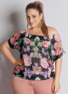 Blusa Floral em Chiffon Plus Size - Posthaus