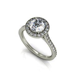 14k white gold diamond engagement ring,moissanite center. style 124WDM