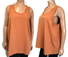 NWT Uniqlo Sleeveless Top Womens Size XL Brown Bronze Blouse Ribbed Trim Rayon #Uniqlo #Basic #Casual Uniqlo, Bronze, Blouses, Casual, Shirts, Tops, Fashion, Moda, Fashion Styles