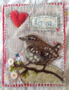 bird by Lou Tonkin -Art Graft Needlefelt onto fabric, with hand and machine stitching, buttons. Fabric Birds, Fabric Art, Fabric Scraps, Embroidery Applique, Machine Embroidery, Wool Applique, Bird Crafts, Felt Crafts, Vogel Quilt
