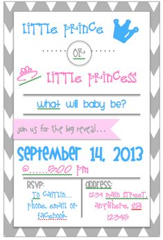 gender reveal party  Your prince/princess idea Cathy!
